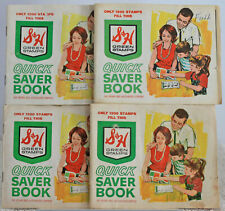 S&H Green Stamps Quick Saver Stamp Book With Stamps Vintage Lot of 4