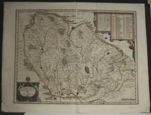 LE MANS NORTHWEST FRANCE 1646 WILLEM BLAEU UNUSUAL ANTIQUE COPPER ENGRAVED MAP