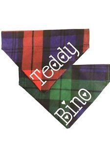 Personalised Dog Bandana Red or Blue Tartan/Check fabric, 3 sizes.