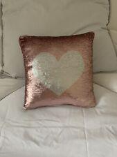 Pink Sequin Heart Cushion