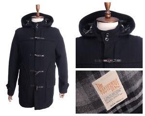 NUDIE JEANS Black Wool Blend Hooded Duffle Coat Size M