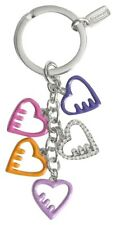 NEW COACH POPPY Pave Crystal HEART LOVE GIRLIE Mix Charms KEYCHAIN KEY FOB RING