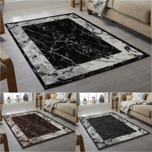 Modern Plain Rugs Black Grey Brown Marble Design Living Rooms Soft Area Carpet