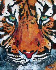 Bengal TIGER Face Original Fine Art PAINTING Artist DAN BYL Animal Huge 5x4 feet