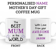 PERSONALISED Name Mothers Day Coffee Tea Mug The Best MUM In The World Gift 0001