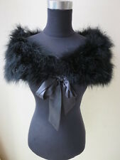 Women Fashion Real Ostrich Feather Fur Cape  party Protect shoulders Black