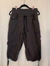 Women's Exofficio Gray Nylon Capri Cargo, Hiking Drawstring Waist Size 12