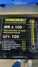Thunder Bolts Hex Head  Concrete Screw Fixing Anchor - M8x100mm - Box of 100