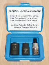 """Bremsen Spezial- Einsätze 1/2"""" 5-kant 3tlg. 14-19mm für Opel, Peugeot, Renault.."""