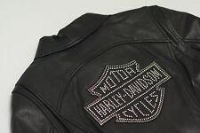 Harley Davidson Women Cycle Diva Swarovski Crystals Leather Jacket 98121-08VW M