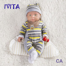 IVITA 16'' Full Silicone Reborn Baby Gril Lifelike Green Eyes Silicone Doll 2KG