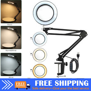 8x Large Magnifying Glass w/Light LED Lamp Magnifier Foldable Stand Desk Read