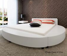 White Round Bed Super King Size Faux Leather Upholstery Slatted Base Sleeper NEW