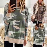 Women Girl Camouflage O Neck Long Sleeve Sweatshirt Pullover Shirts Tops Blouse