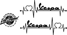 Vespa Logo Herzschlag Aufkleber ca200x74mm Roller Sticker Tuning Dog v.Farben
