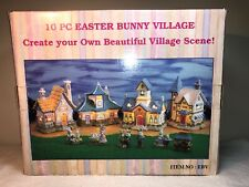 17 Pc Easter Bunny light up Village Tree House Toy Shop, Station, Bakery ,Church