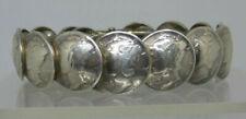 "Vtg Navajo Mercury Dime 90% Silver HINGED BRACELET Size 7"" 1939-40-41-43 Sgnd PP"