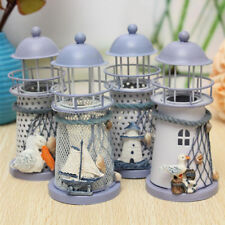 Mediterranean Iron Light House Tower Candlestick Holder Tealight Home Yard Decor