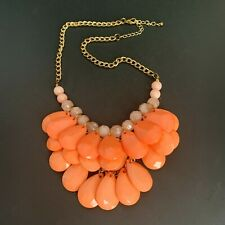 Pretty Coral Multi Layer Beaded Teardrop Drop Dangle Necklace Bib Statement 18""