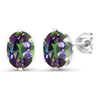 2.60 Ct Oval 8x6mm Green Mystic Topaz 925 Sterling Silver Stud Earrings