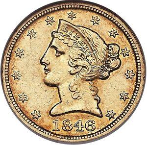 1846-D $5 AU58 NGC. Variety 16-I half eagle