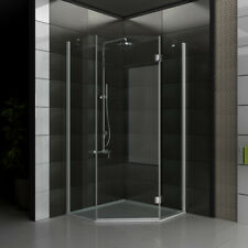 ALPENBERGER Duschkabine Dusche Duschabtrennung Fünfeck 90x90x195 Eckig Duschwand