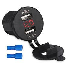 Dual USB Rot LED Steckdose Adapter Ladegerät Digital Voltmeter 12V 24V Auto Boot