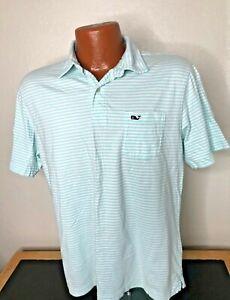 Men's vineyard vines S/S Polo/Golf Shirt Size Medium (M) Green Stripes