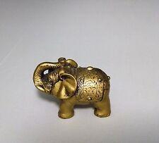 Chinese Oriental Feng Shui Lucky Brass Tone Elephant Miniature Figurine