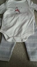 NWT Cherokee Skating Penguin 2 Piece Holiday Outfit Long Sleeve Onesie Pants 6M