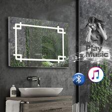 Bathroom Mirror with LED Lights/Bluetooth /Shaver Socket/Demister/Clock/Sensor