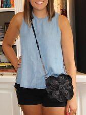 KATE SPADE Chic Black Straw Lawn Party Striped Bitsy Flower Crossbody Handbag