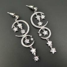 Silver Rhodium Plated Sterling Post CZ Moon Stars Long Drop Chandelier Earrings