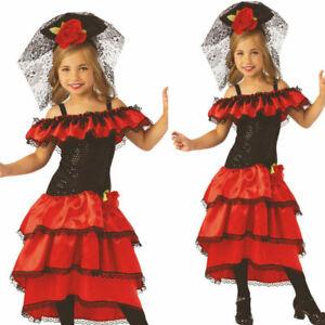 Girls Flamenco Dancer Costume Book Week Day Spanish Kids Fancy Dress Outfit