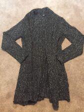 Womens Daisy Fuentes Gray Long Cardigan Sweater Size Medium Chunky Knit