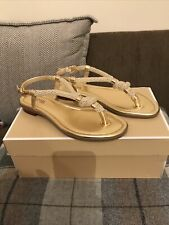 BNWB MICHAEL KORS WOMENS HOLLY ROPE GOLD THONG SANDAL SIZE UK 4 US 6M