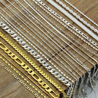 Wholesale Women Men 925 Silver Filled Figaro Chain Necklace 16''-30'' Jewelry