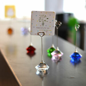 Crystal Diamond  Shape Card Holder Picture Postcard Business Note Clip Gift Ball