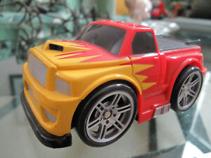 FISHER PRICE RACE TRUCK Red w/Yellow Flames Engine Rumbles and Takes Off! Mattel