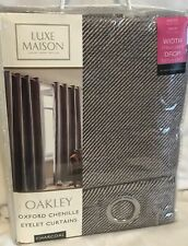 "Luxe Maison - Oakley - Oxford Chenile - Charcoal - Curtains - 46x54"" - Brand New"