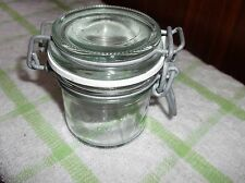 SMALL THICK GLASS KILNER ? JAR NC 14 ON BASE RUBBER SEAL METAL CLASP TIGHT FIT