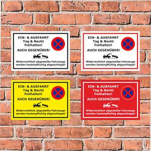 Schild - Ein- und Ausfahrt freihalten - auch gegenüber - in 4 Größen - S00020O