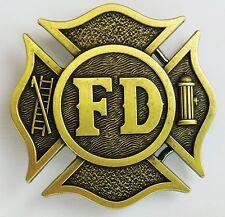 NEW VINTAGE FIRE FIGHTER FIREMAN ANTIQUE BRONZE PLATED FD LOGO BELT BUCKLE!!