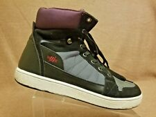 Recon Men High Top Gray Black Leather Skateboard Lace Up Sneakers Shoes Size 13