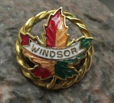 More details for antique windsor ontario canada maple leaf autumn colours fall canadian pin badge