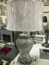 Antique Silver Regency Lamp, mirror mosaic table lamp white shade