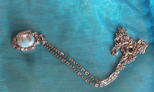 VINTAGE TURQUOISE PENDANT WITH MARCASITES, thin silver tone chain NECKLACE 1950s