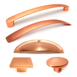 Brushed Copper (Rose Gold) Pull Bow Handle Knob Cup Kitchen Furniture Door