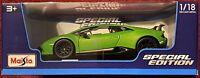 Lamborghini Huracan Performante Maisto Diecast Car Green 1:18 Scale Special NIB