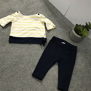 Janie And Jack Baby Girl Sz 3-6 Months 2 PC Set Top Pants Yellow Stripe Blue